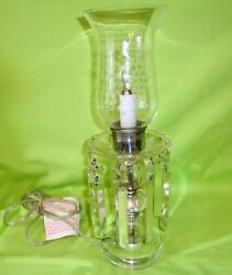 Vintage Lamp Clear Glass Hurricane With Crystals $24.95