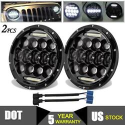 300W Pair 7 inch Round LED Headlight HiLo DRL for Jeep Wrangler JK LJ TJ CJ DOT