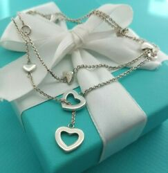 Tiffany & Co Silver Multi Heart Link Lariat Necklace 16-20