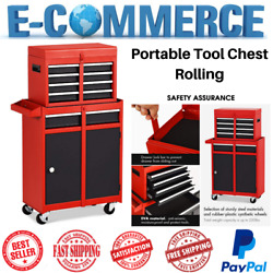 Portable Rolling Tool Chest W 5 Drawers Storage Box Cabinets Sliding Red