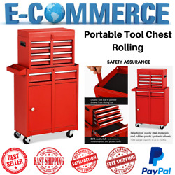 New Portable Rolling Tool Chest With 5 Drawers Storage Box Cabinets Sliding Red