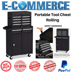 Portable Rolling Tool Chest With 5 Drawers Storage Box Cabinets Sliding Black