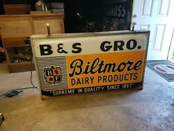 Original Double Sided Lighted Biltmore Dairy Products Sign  Dealer Cow Milk