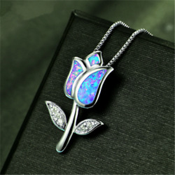 925 Silver Crystal Jewelry Flower Pendant Blue Fire Opal Charm Necklace Chain