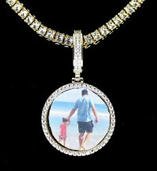 Icy Custom Photo Pendant Medallion 14k Gold Plated Necklace Hip Hop Jewelry $19.99