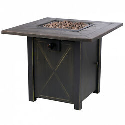 Outdoor Fire Pit Propane Gas 30 Inch Table Fireplace Cover Backyard Patio Heater $208.95