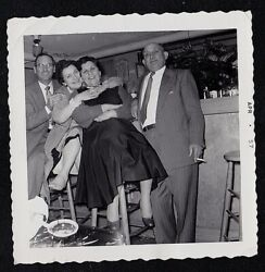 Vintage Antique Photograph Two Men With Two Women Hugging on Bar Stool