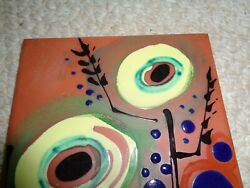 Mid modern painted red clay tile yellow gree circle flowers black stems signed 1 $33.14
