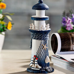 US Beach Home Decor Desk Ornament Colorful Wooden Lighthouse Nautical Decoration