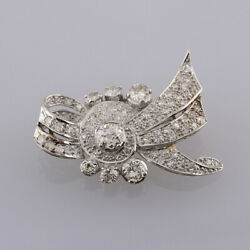 Edwardian 3.46 Carat Old Cut Diamond Bow Brooch 18ct White Gold