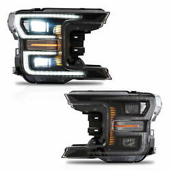Customized Chrome FULL LED Headlights w Sequential Turn Signal for 18-20 F-150