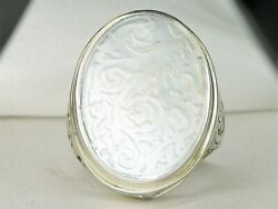 BI Indonesia Sterling Silver .925 Etched Mother of Pearl Band Fine Ring-Size 8