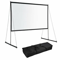 Portable Foldable Projector Screen w Stand 16:9 HD Home Theater Outdoor Movies $95.90