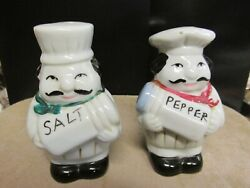 VINTAGE CHUBBY COOKS SALT amp; PEPPER SHAKERS SCARFS ITALIAN CHEFS MAN WOMAN $7.95
