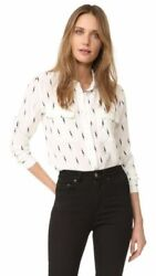 EQUIPMENT Femme X Kate Moss $278 Silk Lightning Bolt Slim Shirt Top Size Small