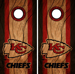 Kansas City Chiefs Cornhole Wrap NFL Decal Wood Vinyl Gameboard Skin Set YD324