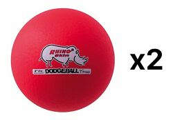 Champion Sports 6 Inch Rhino Skin® Low Bounce Dodgeball - Neon Red (Pack of 2)