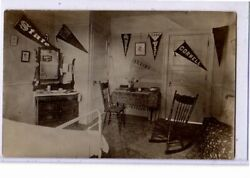 Real Photo Postcard RPPC Interior Bedroom with Cornell Pennant $19.99