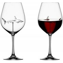 1pc Red Wine Glasses Lead-Free Crystal Glassware Shark Design Party Decor Gift