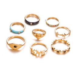 Gold Eye Evil Heart Love Star Midi Finger Jewelry For Woman Gifts Rings Set