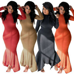 Sexy Women Knit Long Sleeve Bodycon Sweater Dress Ruffle Fishtail Maxi Dress