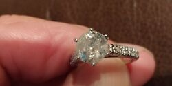 DIAMOND RING 2.12 CT CENTER STONE WITH SIDE DIAMONDS NEVER WORN SIZE 6