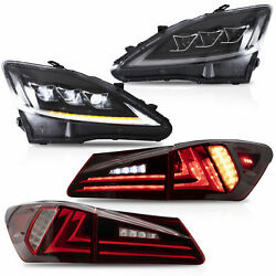 CLEAR LED Headlights + RED CLEAR Taillights for 06-13 IS250350 Sedan 08-14 IS F