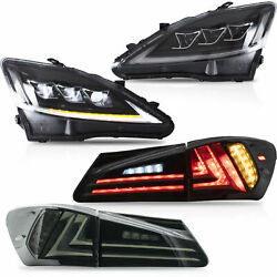 CLEAR LED Headlights + SMOKED LED Taillights for 06-13 IS250350 Sedan 08-14 ISF