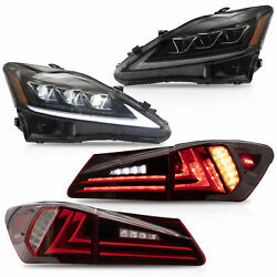 AMBER LED Headlights + RED CLEAR Tail Lights for 06-13 IS250350 Sedan 08-14 ISF