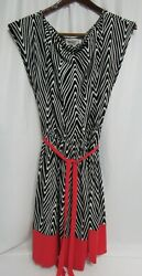 Studio Black White Red Stretch Poly Cascade Belted Social Dress XL