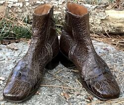 """COUNT BARRI """"King of the Sea"""" Vintage Exotic Leather Ankle Boots Shoes Size 7 E"""