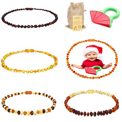 Amber Baby Necklace Unisex Teeth Pain Reduce Natural Anti Flammatory Multi Color
