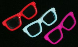 Vintage Lot Of 3 Plastic 1980's Sunglasses Pins Brooches