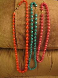Vintage Costume Jewelry 3 Small & Large Beaded Necklaces .