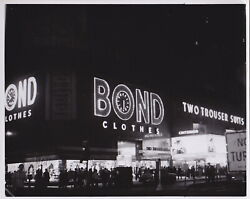 TIMES SQUARE Bond Clothes NEON SIGNS Nightlife * VINTAGE 1950s NYC ART Photo