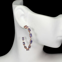 Unheated Oval Blue Tanzanite 5x3mm Natural 925 Sterling Silver Earrings