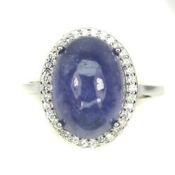 Unheated Oval Blue Tanzanite 14x10mm Cubic Zirconia 925 Sterling Silver Ring 8