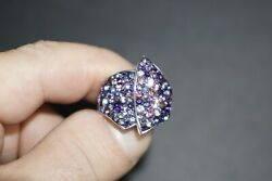 Dazzling Round Cut Multi Colored Cubic Zirconia CZ Silver Cocktail Cluster Ring