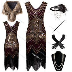 Vintage 1920s Flapper Gatsby Cocktail Dress Evening Prom Party Dresses 6-20 $26.99