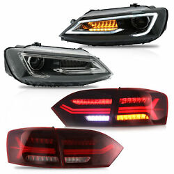 Customized LED Headlights wDUAL BEAM+RED CLEAR Taillights for 11-14 VW JETTA