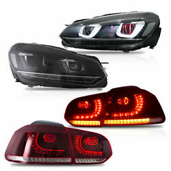 LED Headlight DEMON EYES+RED CLEAR Taillight for 10-13 Golf MK6 GTI 12-13 Golf R