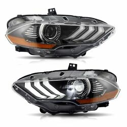 Customized FULL LED Head Lights with Sequential Turn Signal for 18-20 Mustang