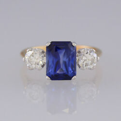 18ct Yellow Gold Sapphire and Diamond Three Stone Ring