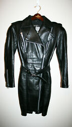 VTG Womens MICHAEL HOBAN North Beach Leather Black Motorcycle Jacket Dress P