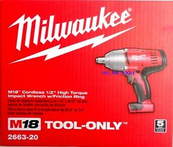 New In Box Milwaukee M18 2663 20 Cordless 1 2quot; High Torque Impact Wrench 18 Volt $139.97