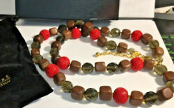 Joan Rivers Carved CoralWood Beaded Necklace RedBrownBlack & Gold tone QVC m