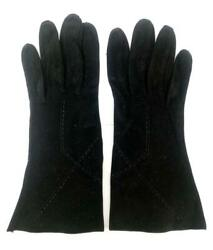 Vintage Gloves Black Suede Leather Forearm 4 Button Length $10.42
