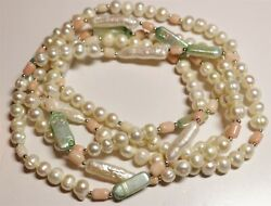 Vintage In Seattle Lot#484 gorgeous pearls coral shell beaded necklace