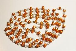 Vintage In Seattle Lot#490 gorgeous long stained pearls & crystals necklace