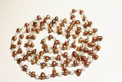 Vintage In Seattle Lot#493  gorgeous long stained pearls & crystals necklace
